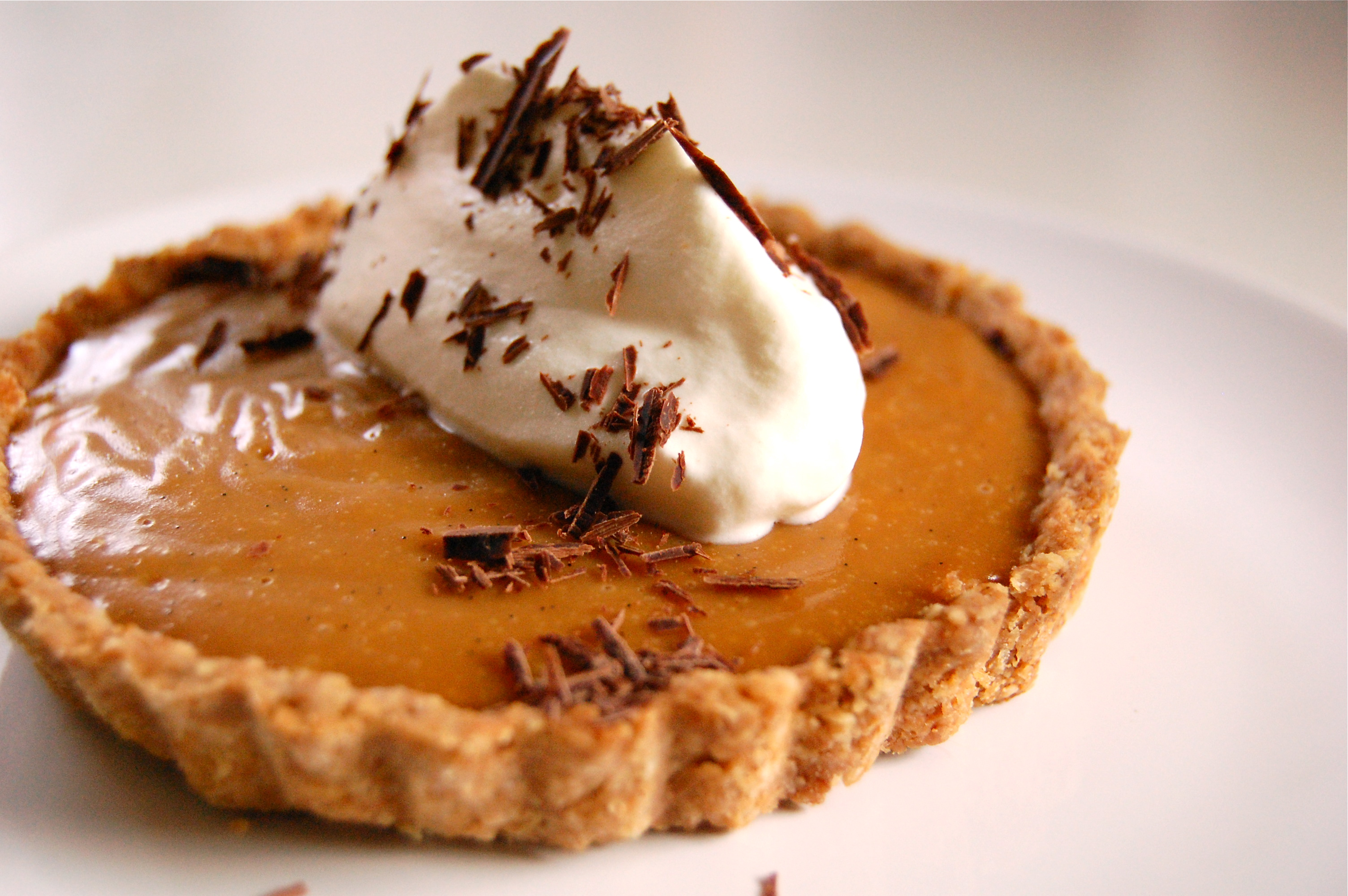 Caramel Pudding Tart With Almond Shortbread Crust