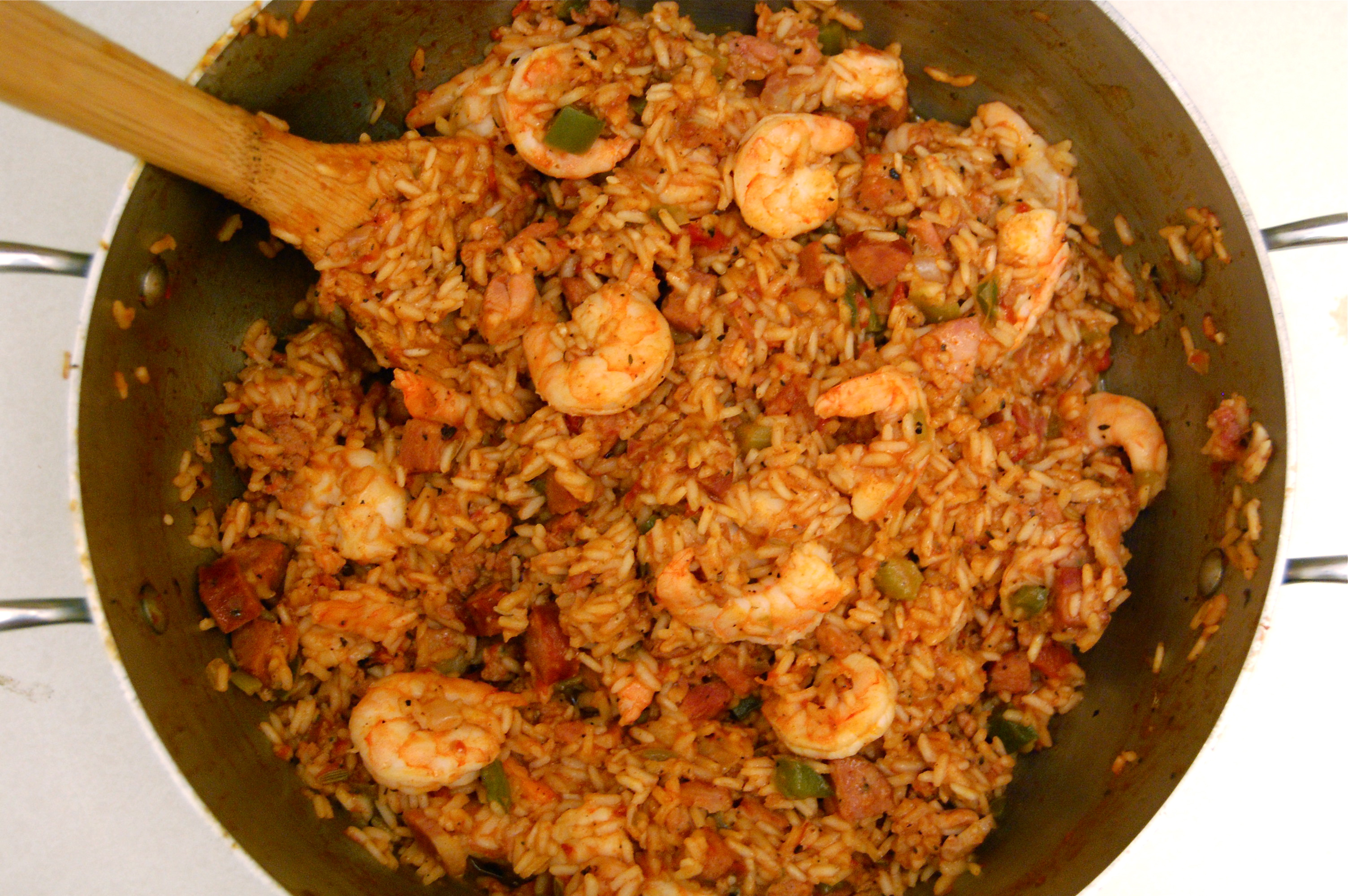 Shrimp, Chicken and Andouille Jambalaya Recipe: